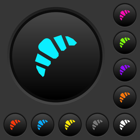 Bakery dark push buttons with vivid color icons on dark grey background Stock Vector - 102797429