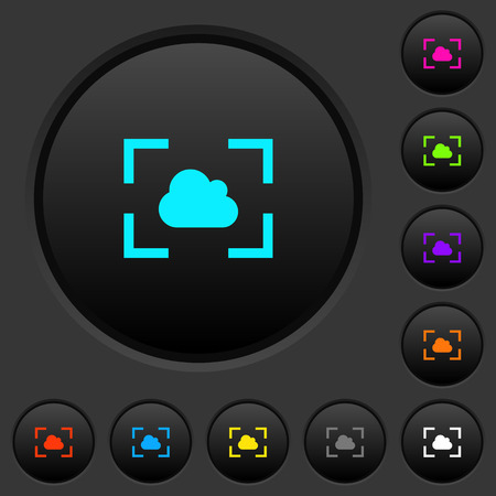 Camera white balance cloudy mode dark push buttons with vivid color icons on dark grey background