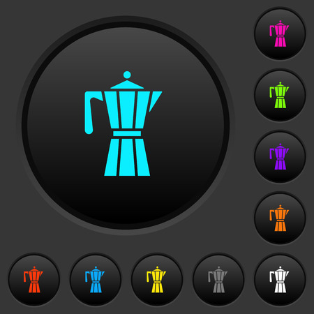 Coffee maker dark push buttons with vivid color icons on dark grey background