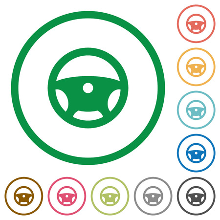 Steering wheel flat color icons in round outlines on white background