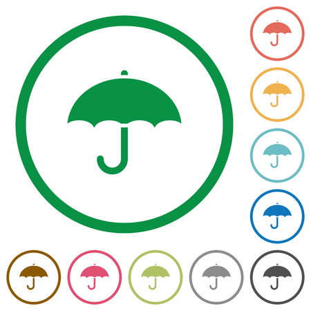 Umbrella flat color icons in round outlines on white background