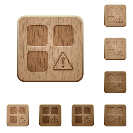 Component warning on rounded square carved wooden button styles Illusztráció