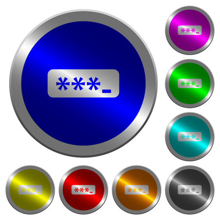 PIN code icons on round luminous coin-like color steel buttons
