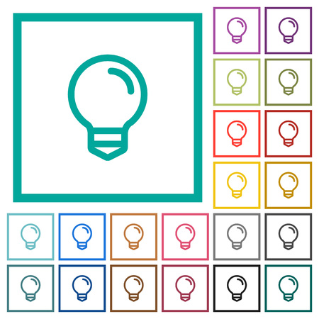 Light bulb flat color icons with quadrant frames on white background