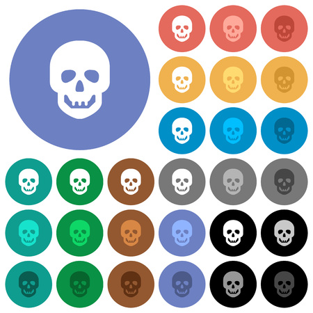 Human skull multi colored flat icons on round backgrounds. Included white, light and dark icon variations for hover and active status effects, and bonus shades on black backgounds.