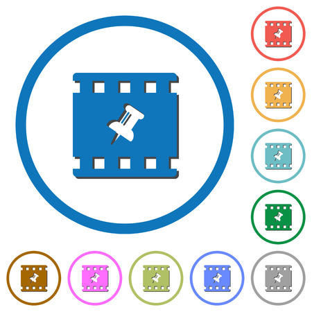 Pin movie flat color vector icons with shadows in round outlines on white background