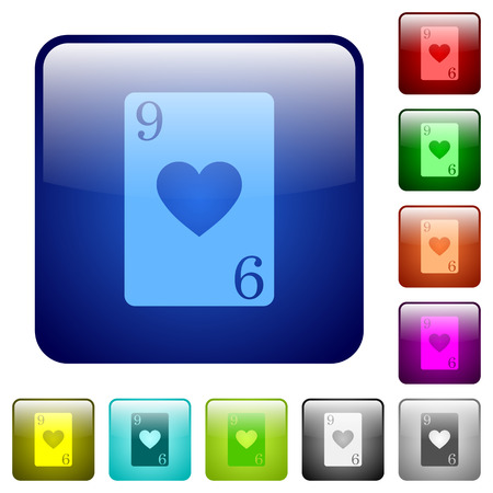 Nine of hearts card icons in rounded square color glossy button set Foto de archivo - 121826081