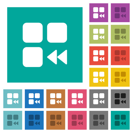 Component fast backward multi colored flat icons on plain square backgrounds. Included white and darker icon variations for hover or active effects.