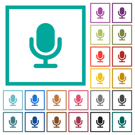 Single microphone flat color icons with quadrant frames on white background