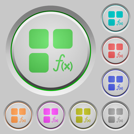 Component functions color icons on sunk push buttons