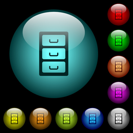 Archive file cabinet icons in color illuminated spherical glass buttons on black background. Can be used to black or dark templates Ilustração