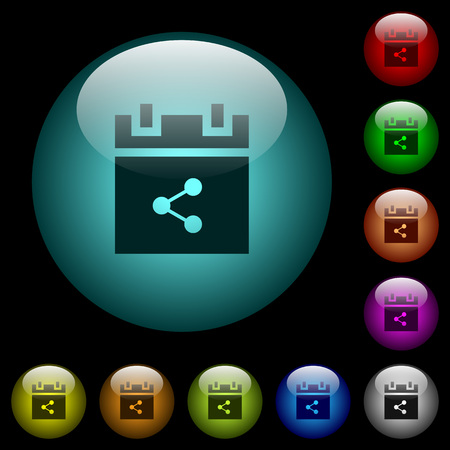 Share schedule item icons in color illuminated spherical glass buttons on black background. Can be used to black or dark templates