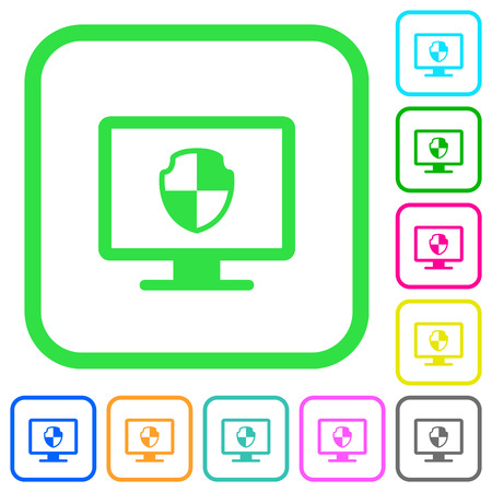 Computer security vivid colored flat icons in curved borders on white background Illustration