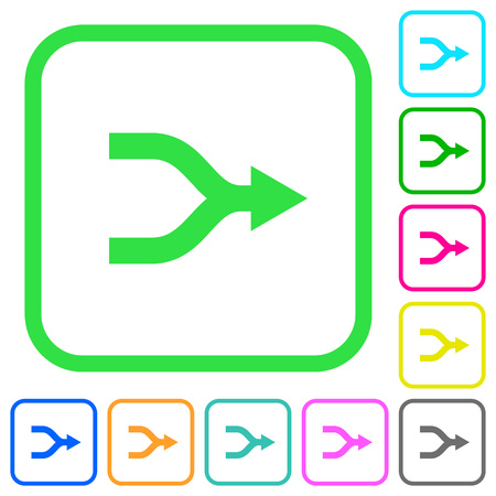 Merge arrows vivid colored flat icons in curved borders on white background