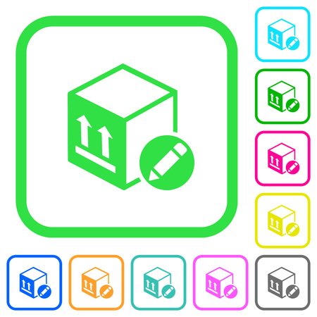 Package edit vivid colored flat icons in curved borders on white background Illustration