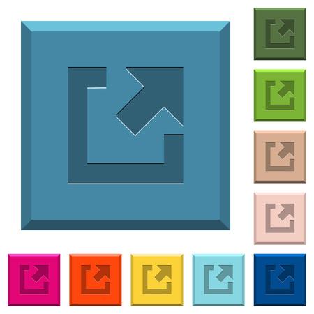 Externer Link gravierte Icons auf kantigen quadratischen Knöpfen in verschiedenen Trendfarben