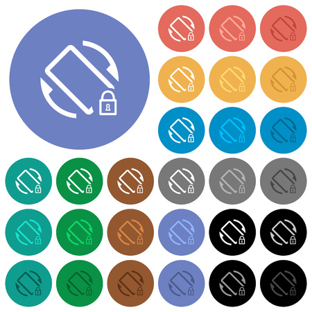 Mobile screen rotation locked multi colored flat icons on round backgrounds. Included white, light and dark icon variations for hover and active status effects, and bonus shades on black backgounds. Stock fotó - 121825464