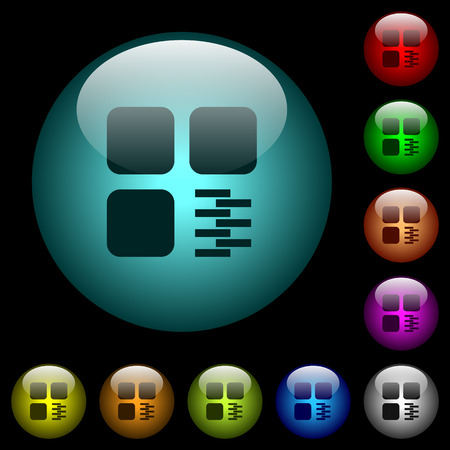Zip component icons in color illuminated spherical glass buttons on black background. Can be used to black or dark templates Illusztráció