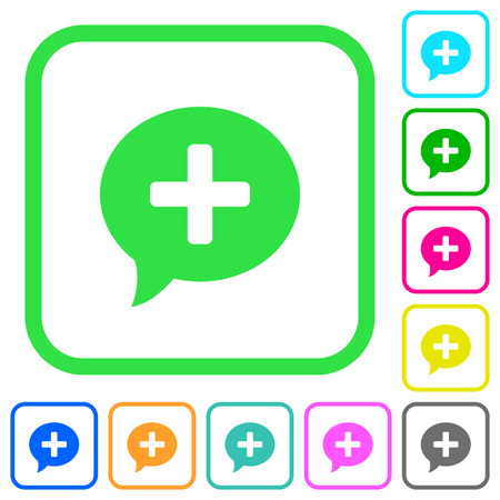 Add comment vivid colored flat icons in curved borders on white background Illustration