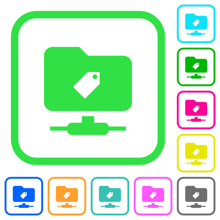 FTP tag vivid colored flat icons in curved borders on white background