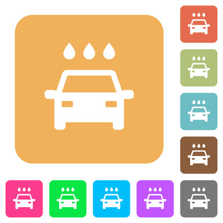 Car wash flat icons on rounded square vivid color backgrounds.