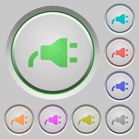 Power plug color icons on sunk push buttons Фото со стока - 102976558