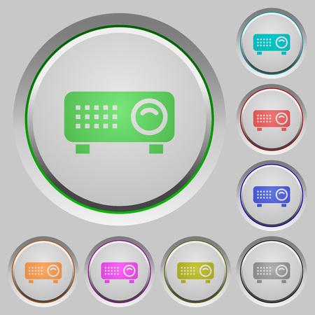 Video projector color icons on sunk push buttons
