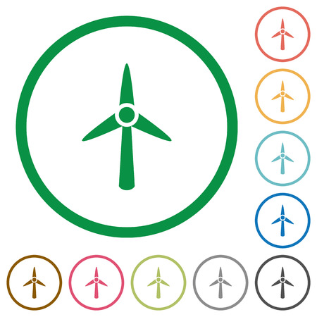 Wind turbine flat color icons in round outlines on white background
