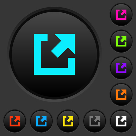 External link dark push buttons with vivid color icons on dark grey background