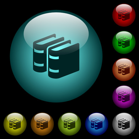 Two books icons in color illuminated spherical glass buttons on black background. Can be used to black or dark templates