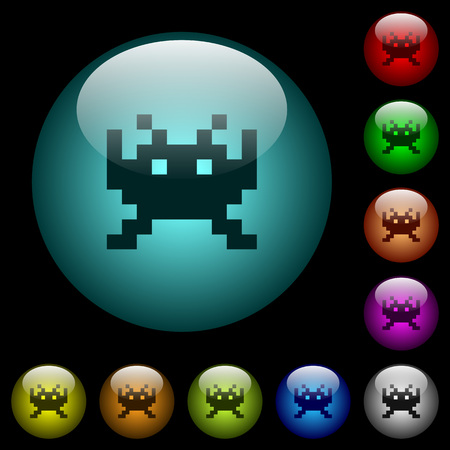 Video game icons in color illuminated spherical glass buttons on black background. Can be used to black or dark templates Illustration
