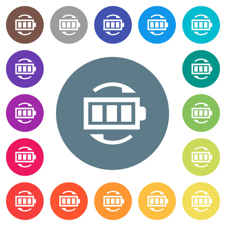 Rechargeable battery flat white icons on round color backgrounds. 17 background color variations are included.