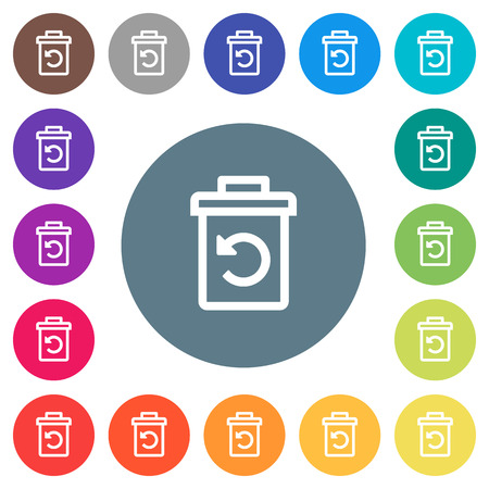 Undelete flat white icons on round color backgrounds. 17 background color variations are included.