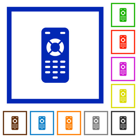 Remote control flat color icons in square frames on white background