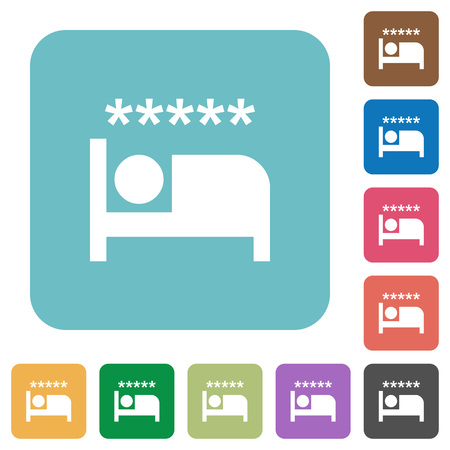 Luxury hotel white flat icons on color rounded square backgrounds