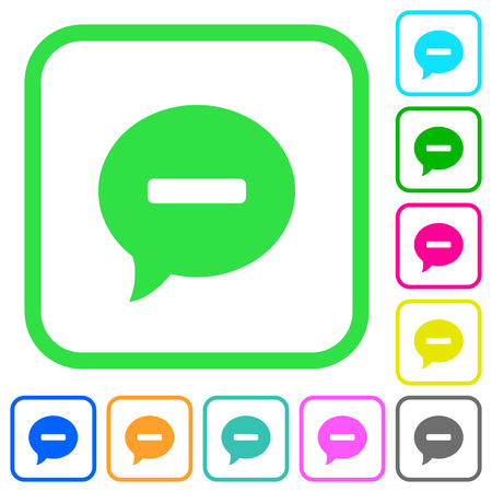 Delete comment vivid colored flat icons in curved borders on white background Illustration