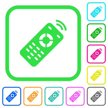 Working remote control vivid colored flat icons in curved borders on white background