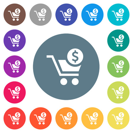 Checkout with Dollar cart flat white icons on round color backgrounds. 17 background color variations are included.