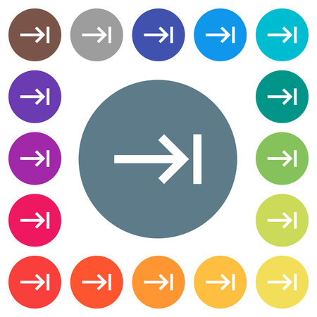 Keyboard tab flat white icons on round color backgrounds. 17 background color variations are included.