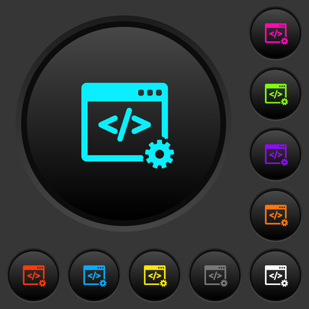 Web development dark push buttons with vivid color icons on dark grey background