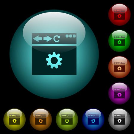Browser settings icons in color illuminated spherical glass buttons on black background. Can be used to black or dark templates 일러스트