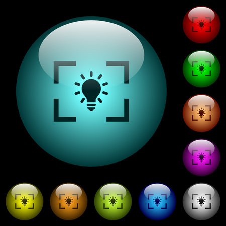 Camera white balance tungsten mode icons in color illuminated spherical glass buttons on black background. Can be used to black or dark templates