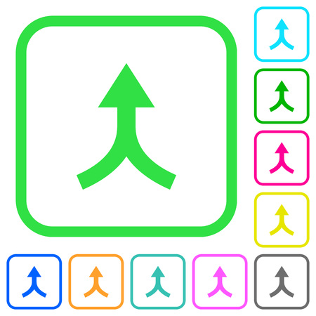 Merge arrows up vivid colored flat icons in curved borders on white background