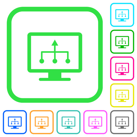 TV select source vivid colored flat icons in curved borders on white background