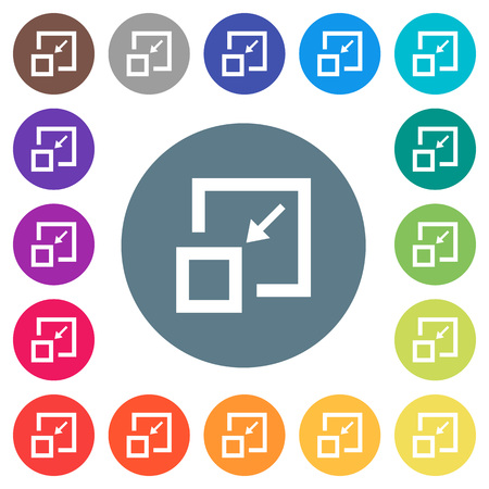 Shrink window flat white icons on round color backgrounds. 17 background color variations are included.