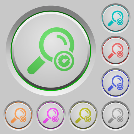 Search engine optimization color icons on sunk push buttons Ilustrace