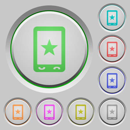 Mobile mark color icons on sunk push buttons Illustration