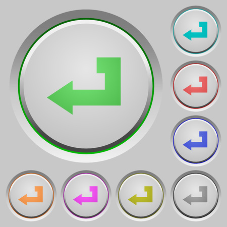 Return key color icons on sunk push buttons Illustration
