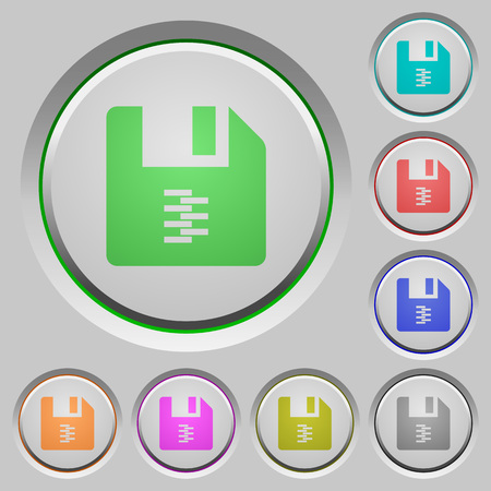 zip archive file color icons on sunk push buttons