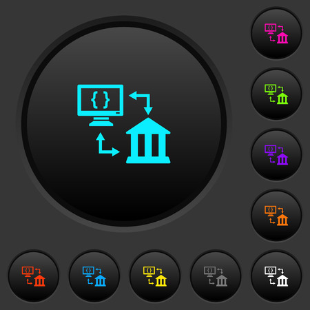 Open banking API dark push buttons with vivid color icons on dark grey background
